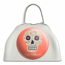 Happy Halloween Fun Floral Skull White Metal Cowbell Cow Bell Instrument