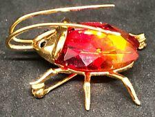 Daniel Swarovski Sterling Silver Fire Opal Beetle A32 Crystal Brooch Scarab Pin