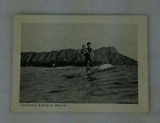 1940's Hawaiian Surfer Mini Postcard Wood Surfboard