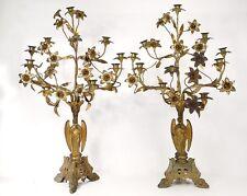 Paire grands candélabres d'autel 9 feux anges laiton bronze doré XIXème