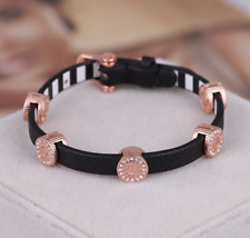 Henri Bendel Rose Gold Tone Leather Adjustable Carlyle Wrap Bracelet
