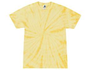 Light Yellow Spider Tie Dye T-Shirts Adult & Kids Sizes Cotton Colortone