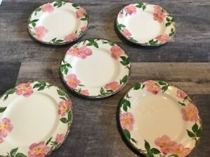 "Set Lot Franciscan Desert Rose 5 Dinner Plates 10 3/4"" Pink Rose Made in England"