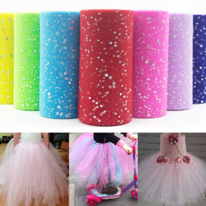 "10Yds 6"" Sequin Glitter Tutu Tulle Roll Fabric Craft Bridal Dress Wedding Decor"