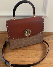 COACH Signature Top-Handle Tea Rose Lock Satchel TAN BLACK Handbag Gold