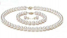 8mm White Shell Pearl Gold Plated Flower Clasp Necklace Bracelet Earrings Set