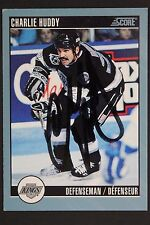 Charlie Huddy LA Kings Autographed 1992 Score #92 Hockey Card JSA 16H