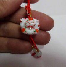 Brand New Maneki Neko Lucky Cat Ceramic Fortune Knot Cell Phone Charm - Orange