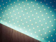 Shabby White Spots on Light Blue/Turquoise 100% Cotton Fabric. Per 1/2 meter