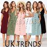 UK Womens Holiday Button Through Midi Dress Ladies Summer Beach Mini Size 6-14
