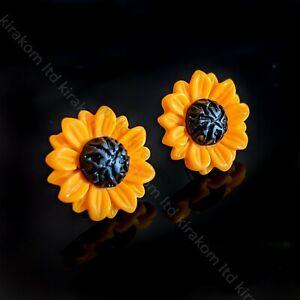 Stud Sunflower Earrings Sunflowers Yellow Cute Summer Trendy Charming Jewellery