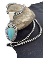 Women Stun Navajo Pearls Sterling Silver ROYSTON Turquoise Necklace Pendant 1183