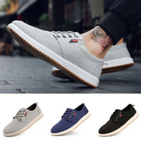Mens Casual Low Top Walking Sneakers Lace Up Shoes Comfortable Canvas Flat Shoes