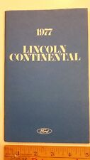 1977 Lincoln Continental - Original Owner's Manual - Excellent Condition - (Us)