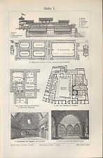 Lithografie 1905: Bäder I/II. Innen-Architeltur Einrichtung Stühle Lampe baden