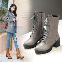 Damenschuhe Blockabsatz Stiefeletten Punk Pumps Stiefel Gr.34-46 Schnürung Boots