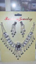 Clear Diamante Rhinestone crystal Necklace & earrings set wedding prom