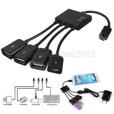 4 Port Power Micro USB Host OTG Hub Power Charging Adapter Cable for Samsung HTC