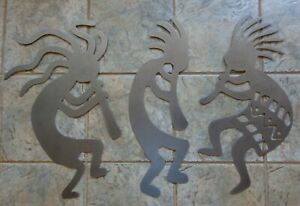 """Set 3 Kokopelli Musicians Metal Wall Art Each 24"""" Tall Textured Silver Vein"""