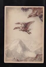 Vtg German POSTCARD ~ by Anton Pieck - Tom Thumb on Duck or Goose chased by Hawk