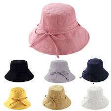 afe5e0e4f0086 Womens Girls Bucket Hats Wide Brim UV Protection Floppy Foldable Bowknot Sun  Hat