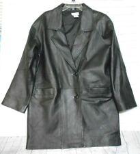 Tribeca Studio Women's Large Black Leather  Mid Calf Coat