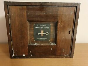 VINTAGE MATHER & PLATT REPLACEMENT SPRINKLER HEAD WOODEN CABINET BOX & KEY