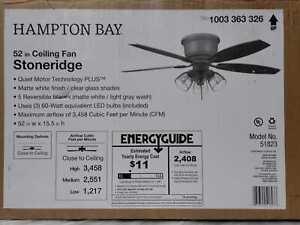 Stoneridge 52'' Matte White Hugger LED Ceiling Fan w/ Light Kit by Hampton Bay