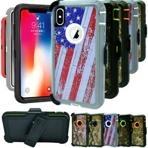 For iPhone XS XR MAX Shockproof Hard Case Camo Belt Clip Fits Otterbox Defender