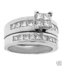 2.00ct PRINCESS Cut Invisible Set Bridal Wedding Ring Set in 14k White Gold
