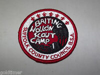 VINTAGE BSA BOY SCOUT PATCH  BAITING HOLLOW SCOUT CAMP SUFFOLK COUNTY COUNCIL BS