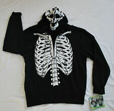 NWT FSD Skeleton costume zip-up over face sweatshirt Hoodie black/white Child XL