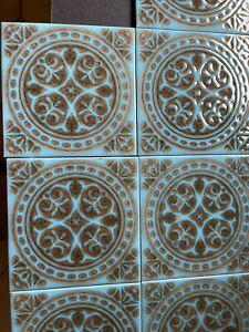 "10 x Vintage H&R Johnson Cristal Tiles 6""x6"" 1970s Turquoise Blue & Brown Unused"