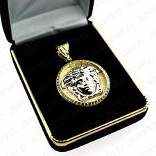 "Men's 10K Yellow Gold Medusa Head Pendant Versace Symbol CZ Charm 1.25"" Inch"