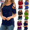 Women Summer Blouse Tops Short Sleeve Solid Plus Size Sexy Cold Shoulder T Shirt