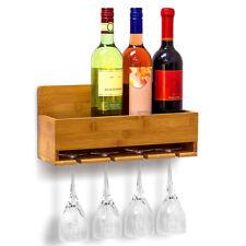 Scaffale Mensola Portabottiglie Vino da Parete con 4 Porta Bicchieri Legno Bambu