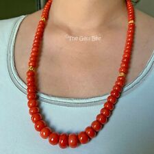 "18K Gold Heavy Undyed Mediterranean Sardinia Red Coral Bead 25.5"" Necklace"