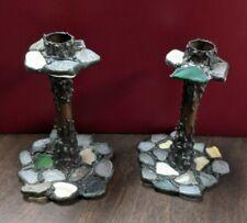 Pair Of Diana Markin Usa Handmade Sea Glass, Rock, Brass Pedestal Candlesticks