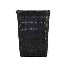 Black Large Plastic Laundry Basket Rattan Effect Style hamper Ideal Gift
