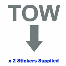 2 x MSA Specification - Metallic SILVER TOW Arrow Race/Rally Car Decals/Stickers