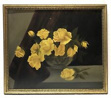 Vintage Yellow Roses Still Life Oil Painting On Board Gold Frame