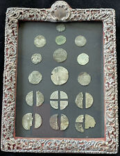 More details for joblot of silver hammered coins in victorian 1898 silver hallmarked frame.lovely