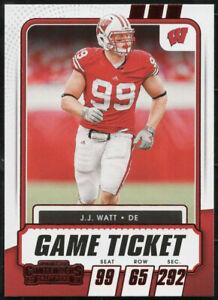 "2021 Contenders Draft Picks J.J. WATT ""GAME TICKET"" Red Foil Parallel Card #79"