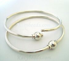 "7""  925 Plain sterling silver charm bangle screw ball clasp Cape Cod Bracelet"