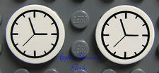 NEW Lego Lot/2 Minifig KITCHEN CLOCKS - Friends White Round 2x2 Train Clock Tile