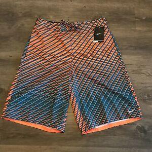 NWT Mens Nike Water Repellant Swim Trunks Blue Orange w/ Liner Sz M