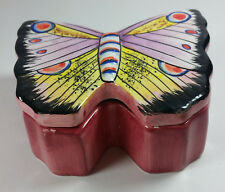 Butterfly Jewelry Dish 4x3x2in Trinkets Pink Multi Color Covered Lid Ceramic