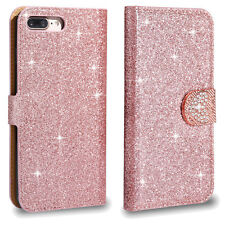 For iPhone Samsung Galaxy Huawei Glitter Heart Diamond Leather Flip Case Cover