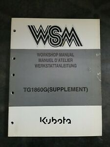 Kubota WSM Workshop Manual TG1860G(Supplement)