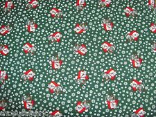 CHRISTMAS KITTENS SNOWFLAKES SANTA CAP on 100% COTTON FABRIC Priced By The Yard